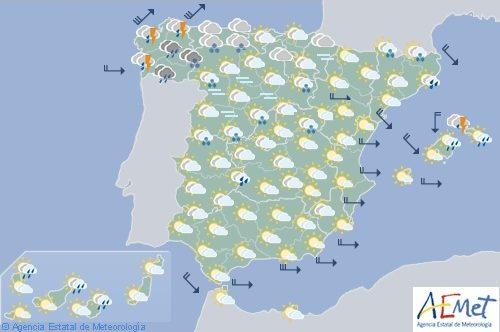 Hoy en España precipitaciones fuertes en Galicia, temperaturas en ascenso en el Cantábrico oriental