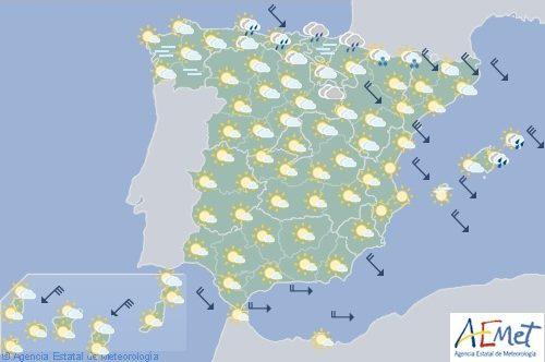 Hoy en España nuboso con precipitaciones en el Cantábrico oriental y Pirineos