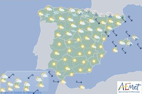 Hoy en España precipitaciones en el Cantábrico oriental, Pirineos y Baleares