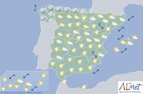 Hoy en España nuboso con precipitaciones dispersas en Galicia y Cantábrico occidental
