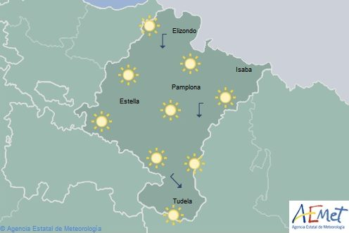 Poco nuboso o despejado en Navarra, temperaturas máximas en aumento