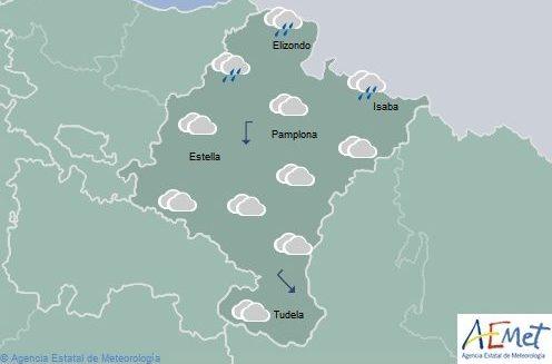 En Navarra precipitaciones débiles en el extremo norte, temperaturas mínimas en ascenso