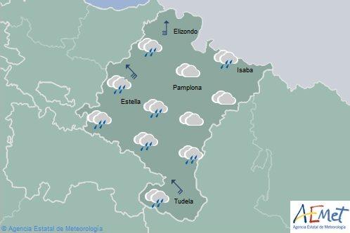 En Navarra lluvias ocasionales y persistentes en la Ribera, temperaturas máximas en descenso