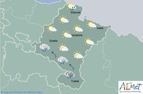 En Navarra nubosidad en disminución y lluvias débiles en la vertiente cantábrica