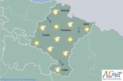 Poco nubosos o despejado en Navarra, temperaturas máximas con pocos cambios