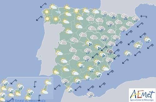 Hoy en España precipitaciones fuertes en el sureste y Melilla, viento fuerte en el área mediterránea