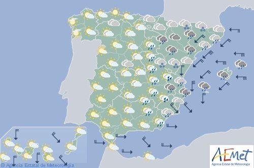 Hoy en España, precipitaciones en Cataluña y Valencia y viento fuerte en el área mediterránea