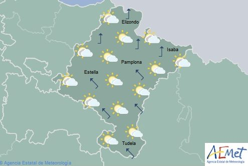 En Navarra intervalos nubosos aumentando a nuboso, temperaturas sin cambios