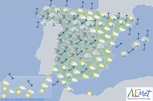 Hoy en España precipitaciones en Galicia y viento fuerte en amplias zonas del interior