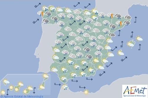 Hoy en España, nieve entre 1000-1300 en el noroeste, viento fuerte en el extremo norte