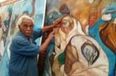 Artista plasma en murales las figuras de Cortés, Moctezuma y La Malinche