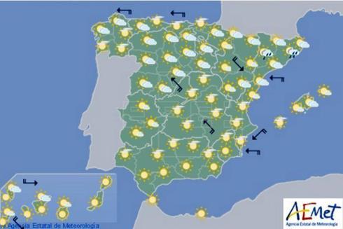 Hoy en España, lluvia en Galicia, Cataluña y Pirineo y poco nuboso en resto
