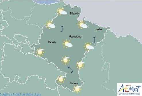 Intervalos de nubes medias y altas en Navarra con temperaturas máximas en aumento