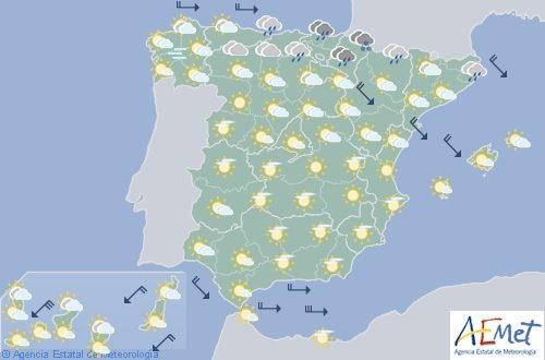 Hoy en España, lluvias persistentes en el norte del País Vasco y Navarra