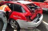 Herido un policía foral al chocar un camión contra tres vehículos en Vera
