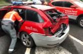 Herido un policía foral al chocar un camión contra tres vehículos en Bera