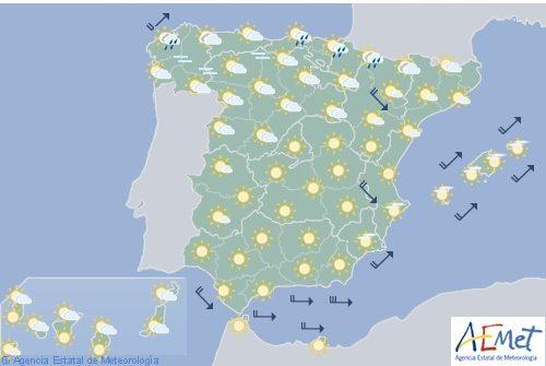Hoy en España precipitaciones en zona pirenaica, cielo poco nuboso en el resto