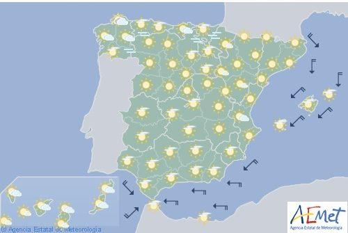 Tiempo estable y soleado en todo España