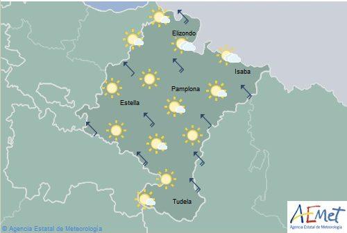 Cielo despejado en Navarra con temperaturas en ascenso