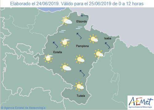 Temperaturas sin cambios en Navarra, cielo poco nuboso