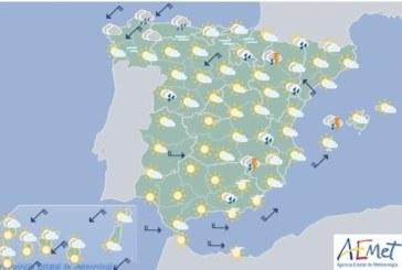 Hoy en España, chubascos y tormentas fuertes con granizo en la mitad norte y tercio este