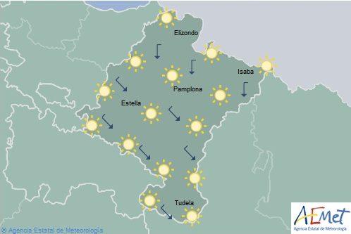 Cielo despejado en Navarra con temperaturas sin cambios