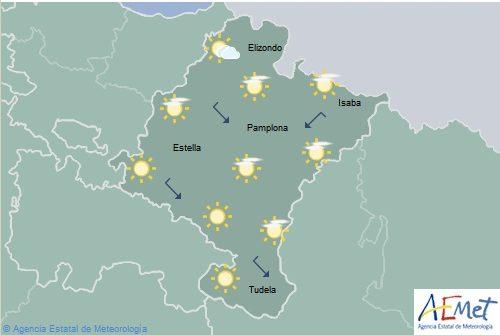 En Navarra poco nuboso con temperaturas máximas en aumento