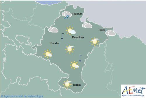 Temperaturas en descenso en Navarra excepto en la Ribera Baja