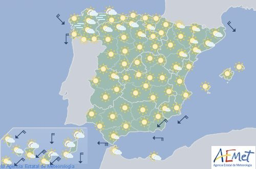 Hoy en España, temperaturas diurnas en aumento con predominio de cielo despejado