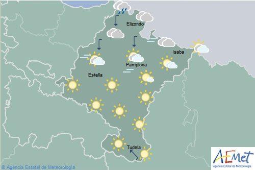 En Navarra posibles lluvias en el tercio norte, temperaturas mínimas en aumento en el sureste