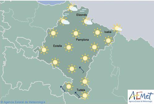 Cielo poco nuboso o despejado en Navarra con temperaturas sin cambios