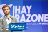 Casado respalda al PP vasco: «El PP no tiene razón de ser sin el PP vasco»