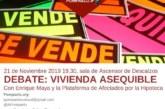 AGENDA: 21 de noviembre, en Sala de Ascensor Descalzos, debate «Vivienda asequible»