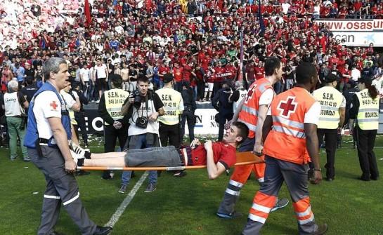 58 atendidos y 10 trasladados por la Cruz Roja tras la avalancha en el Graderío Sur de El Sadar
