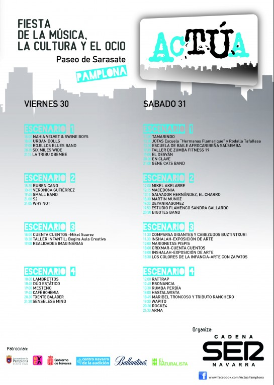 El viernes y el sábado se desarrollará en el Paseo de Sarasate la segunda edición del festival 'Actúa',