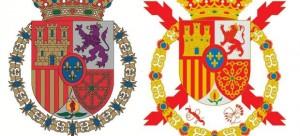 Escudo de Felipe VI a la izquierda y el de Juan Carlos I a la derecha