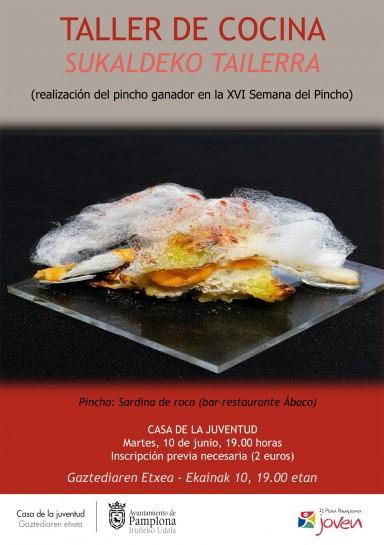 Sardina de roca, pincho ganador de la XVI Semana del Pincho de Navarra, protagonista del taller de cocina en la Casa de la Juventud