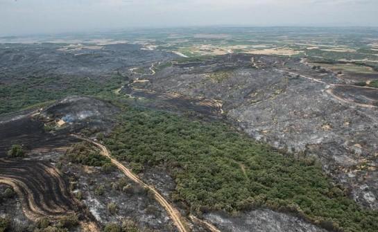 Desactivado el nivel 2 de alerta en el incendio próximo a Ujué