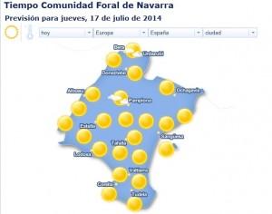 Navarra padecerá hoy altas temperaturas. www.eltiempo24.es