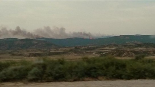Incendio de grandes proporciones cerca de Ujué