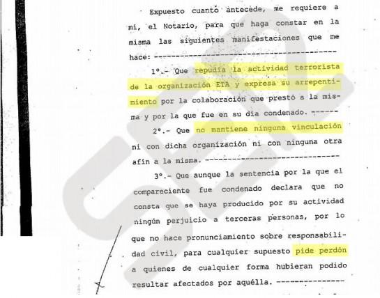 Un etarra repudia a ETA por escrito ante notario