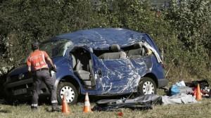 Fallecen dos menores y un adulto al salirse de la vía un vehículo en la N-121-A, a la altura del cruce de Lantz