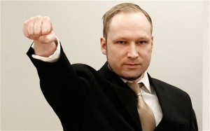 Saludo fascista de Anders Breivik. Foto: telegraph.co.uk