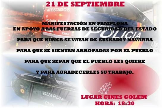El domingo, manifestación de apoyo a las Fuerzas y Cuerpos de Seguridad del Estado en Pamplona
