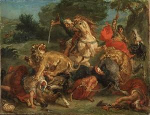 'La caza de los leones' (1855), de Delacroix   Crédito: Wikipedia.
