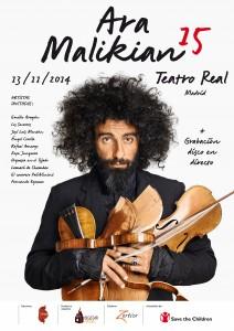"""AGENDA:13 de noviembre, Teatro Real de Madrid, Concierto benéfico Ara Malikian """"15"""""""