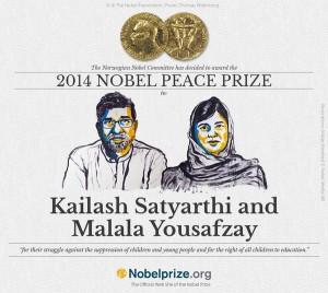 Malala Yousafzai Y Kalaish Satyarthi ganadores del Premio Nobel de la Paz.
