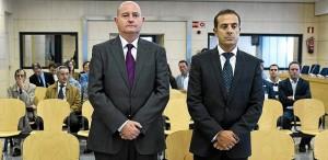 Los condenados Enrique Pamies y José María Ballesteros, durante el juicio en la Audiencia.