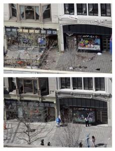 La primera bomba estalló a poca distancia de la tienda Marathon Sports, a la izquierda en las imágenes. Los destrozos también están arreglados y la acera vuelve a ser un lugar normal de paso.