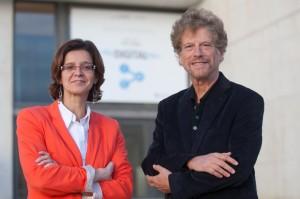 Monica Herrero, copresidenta del Congreso y Eli Noam, director del Institute for Tele-Information de Columbia University. Foto: UN